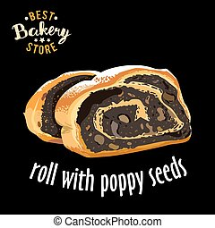 Baked sliced roll with poppy seeds vector. Baked bread product