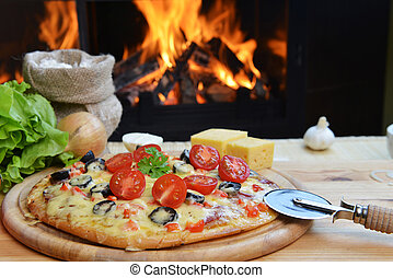 tasty pizza  - baked tasty pizza  near wood oven