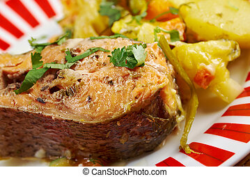 Baked trout with potatoes