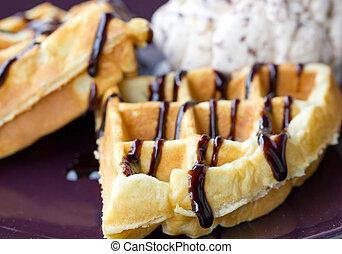Baked waffle with ice cream.