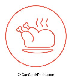 Baked whole chicken line icon.