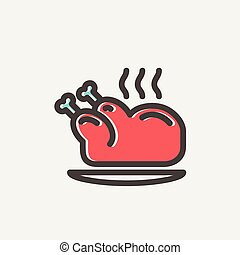 Baked whole chicken thin line icon