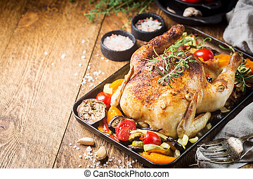 Baked whole chicken