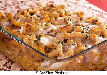 Baked Ziti - Baked ziti pasta with meat, tomato sauce,...
