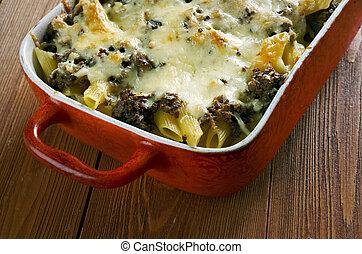 Baked ziti pasta with liver,mozzarella, parmesan,