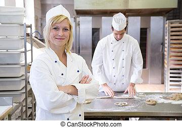 bakehouse, bakker, het poseren, bakkerij, of