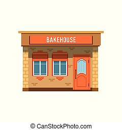 Bakehouse facade, bread shop building vector Illustration