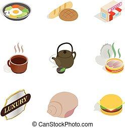 Bakehouse icons set, isometric style
