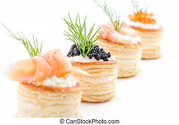 bakelser, kaviar, lax, räka