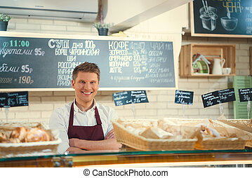 Baker at the counter