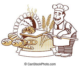 Baker at the oven