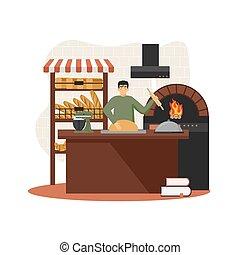 Baker baking bread in bakery wood fired oven, vector flat illustration