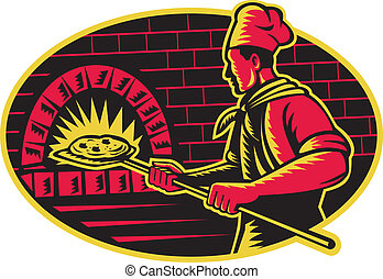 Illustration of a baker with long handled bread pan baking pizza into wood fire oven done in retro woodcut style.