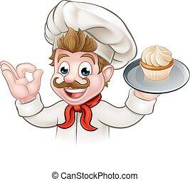 Baker Chef Cake Cartoon Character