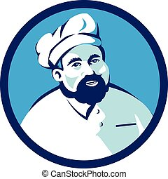 Baker Chef Cook Bearded Circle Retro