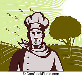 Baker chef or cook with farm setting in background done in retro woodcut style