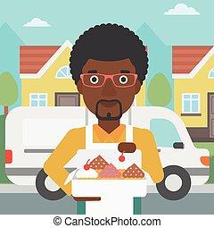Baker delivering cakes vector illustration.