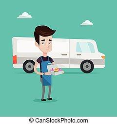 Baker delivering cakes vector illustration. - A friendly...
