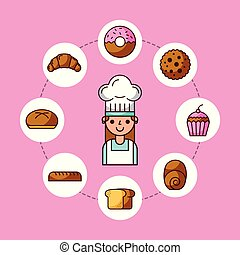baker girl character with bread cake cupcake donut croissant