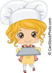 Baker Girl - Illustration of a Little Girl Wearing a Toque...