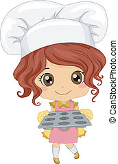Baker Girl - Illustration of a Little Girl Wearing a Toque ...