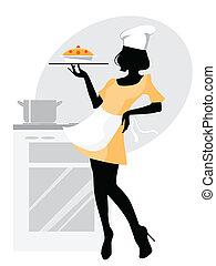 Baker girl silhouette - Vector illustration of a baker girl...