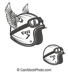 Baker helmet with wings. Design element for logo, label, emblem, sign, poster, t-shirt.