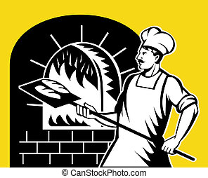 baker holding baking pan into wood oven - retro style...