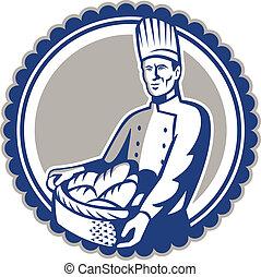 Baker Holding Basket Bread Loaf Retro