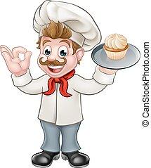 Baker Holding Cake Cartoon Mascot