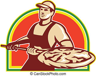 Illustration of a baker holding a peel with pizza pie done in retro style on isolated white background.