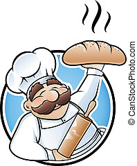 Happy baker cartoon character presenting a freshly baked loaf of bread
