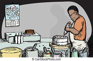 Baker - Black male baker puts icing on a cake