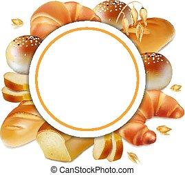 Baker logo. Bread realistic label 3d vector