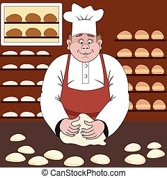 Baker makes the bread or buns in a bakery