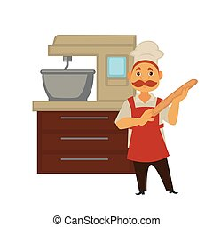 Baker man in bakery shop baking bread or kneading dough in mixer vector isolated baker profession people icon
