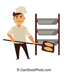 Baker man in bakery shop baking bread vector isolated baker profession people icon