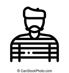 baker pastry chef french icon vector outline illustration - ...