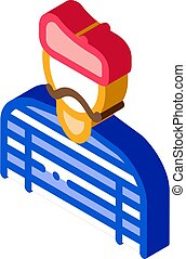 baker pastry chef french icon vector. isometric baker pastry chef french sign. color isolated symbol illustration