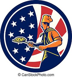 baker pizza pan oven CIRC-USA-FLAG
