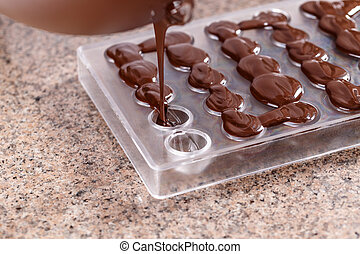 Baker pours chocolate