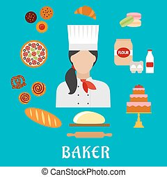 Baker profession and pastries flat icons