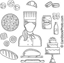 Baker profession and pastry sketched icons