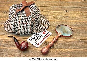 Baker Street Signboard, Sherlock Holmes Cap, Smoking Pipe...