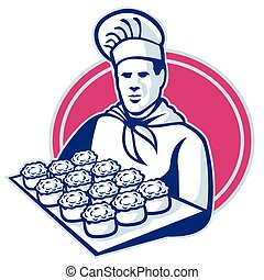 vector illustration of a baker chef cook serving tray of pork meat pies set inside ellipse done in retro style.
