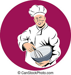 Baker whisking in mixing bowl - Illustration of a baker...