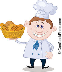Baker with a basket of bread - Cartoon cook - chef with a...