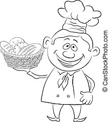Baker with a basket of bread, contour - Cartoon cook - chef...