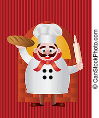 Baker with Bread and Rolling Pin Illustration - Baker Chef...