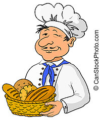 Cook - baker in a cap with a basket of tasty newly baked bread